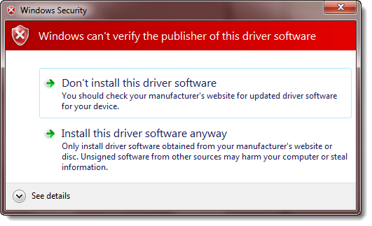 Install device driver anyway
