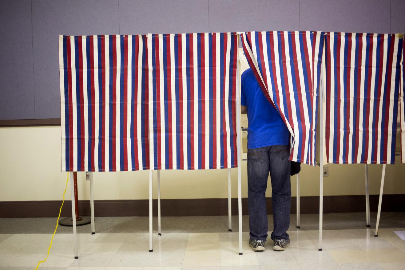 A voter during the 2016 US presidential election.