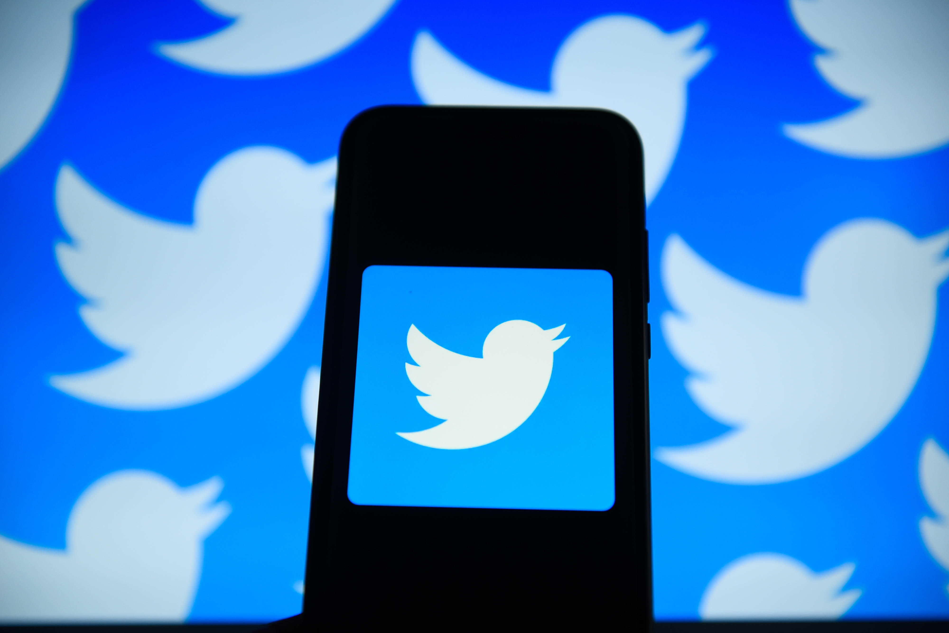 Twitter  logo is seen on an android mobile phone in front of