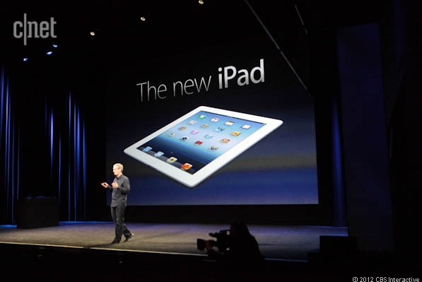 Apple CEO Tim Cook introduces the third-generation iPad.
