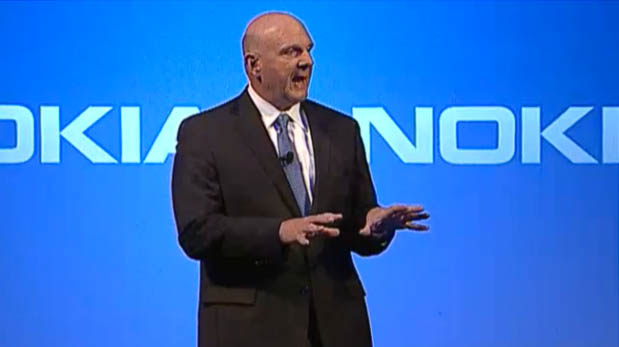 Outgoing Microsoft CEO Steve Ballmer describes his hopes for his company's acquisition of Nokia's phone business at a press conference in Espoo, Finland.