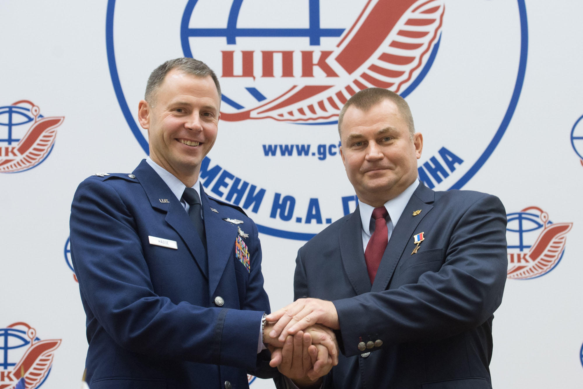 At the Gagarin Cosmonaut Training Center in Star City, Russia, Expedition 57 crewmembers Nick Hague of NASA (left) and Alexey Ovchinin of Roscosmos (right) pose for pictures Sept. 17 after a crew news conference. Hague and Ovchinin will launch Oct. 11 fro