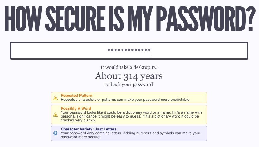 How Secure Is My Password site