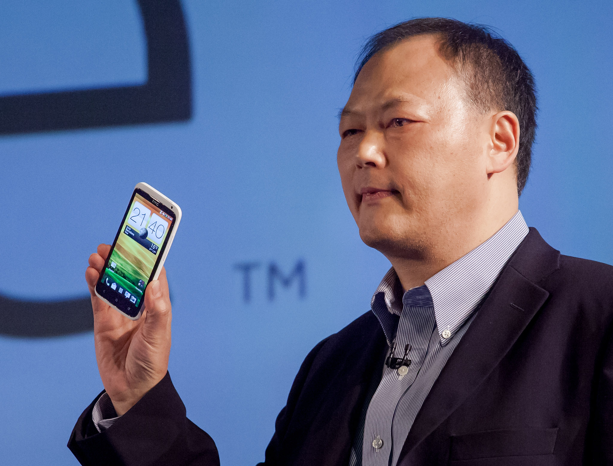 HTC Chief Executive Peter Chou holds the new HTC One X Android phone at Mobile World Congress in Barcelona, Spain.