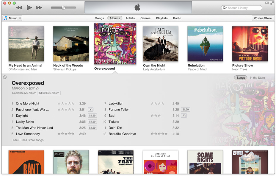 iTunes 11's new interface.