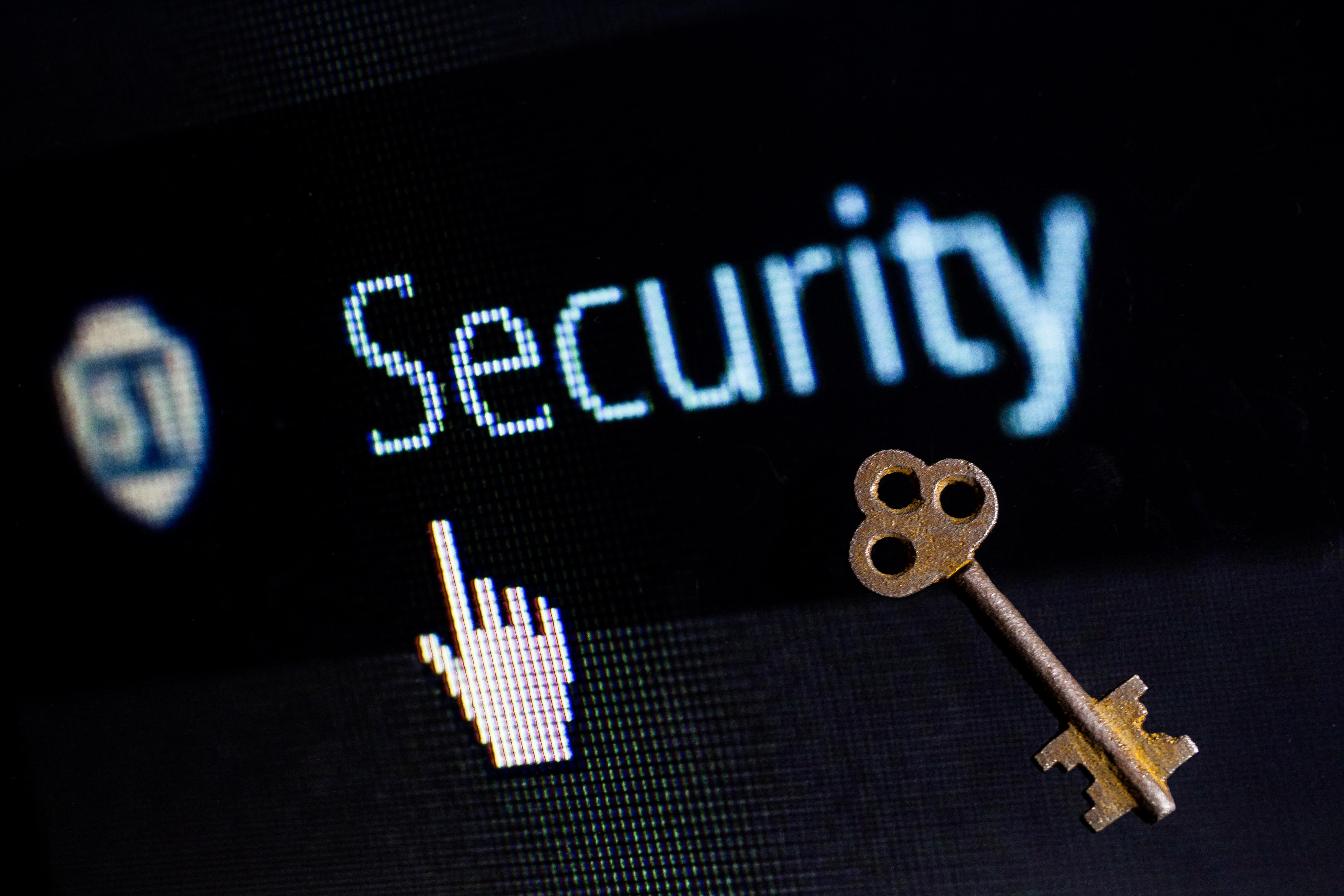 """Computer screen showing the word """"security"""" and an image of a key."""
