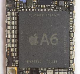 Apple's A6 chip, which is designed by Apple and manufactured by Samsung.