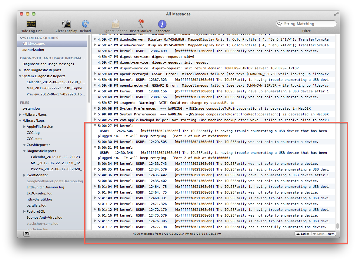 Enumeration errors in the OS X console