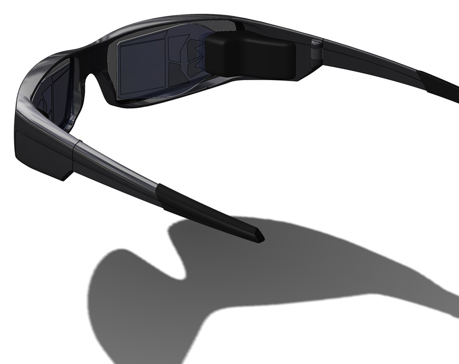 Vuzix's glasses overlay video from a display engine with video from the outside world.