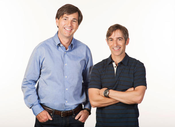 Zynga CEO Don Mattrick with company founder and former CEO Mark Pincus.