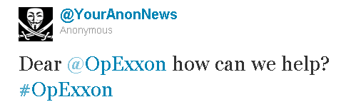 This tweet and a separate statement indicate hackers are planning a campaign against Exxon.