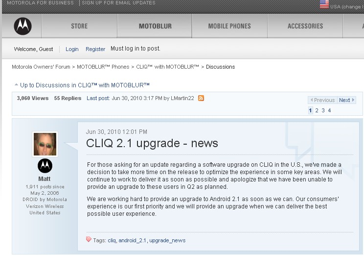 Motorola delivers the bad news that Cliq/Cliq XT users will not get Android 2.1 today.