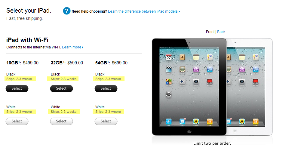Current ship times for Wi-Fi versions of the iPad 2 are 2-3 weeks, and could continue to be pushed back.