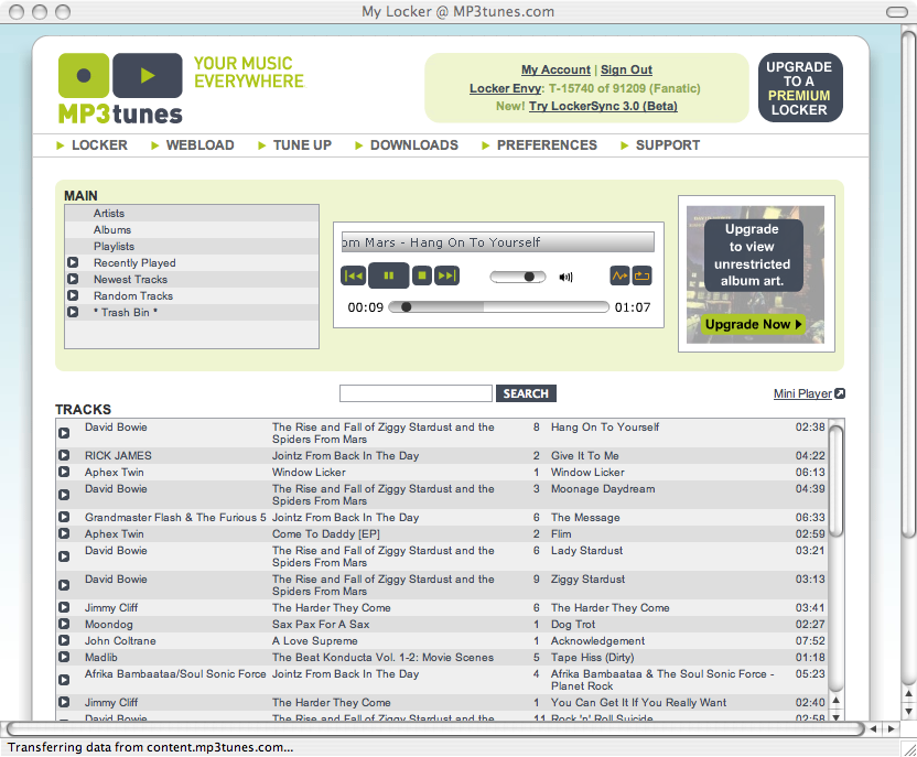 Screen capture of MP3tunes jukebox application