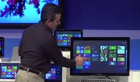 Microsoft's Michael Angiulo demonstrating a touch-screen desktop PC.