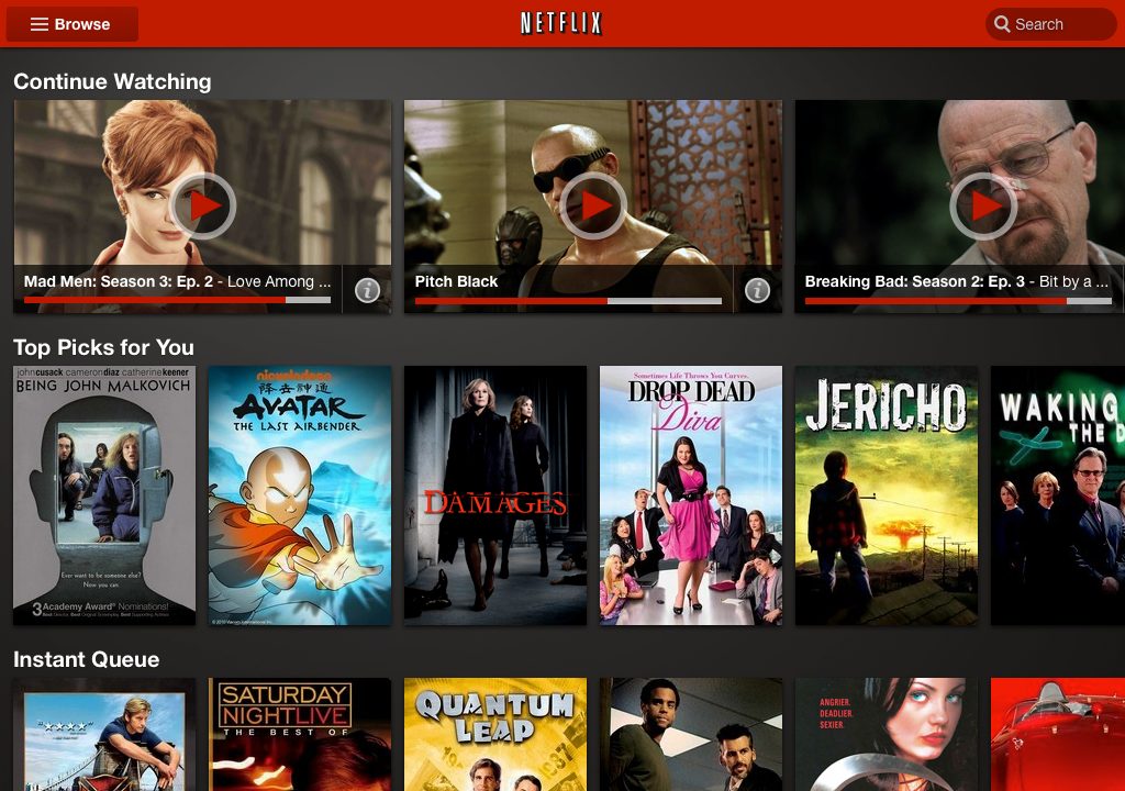A look at the new Netflix tablet application.