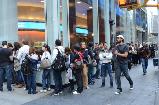 The line for an iPhone 5 outside of Apple's Manhattan store on the phone's launch day.