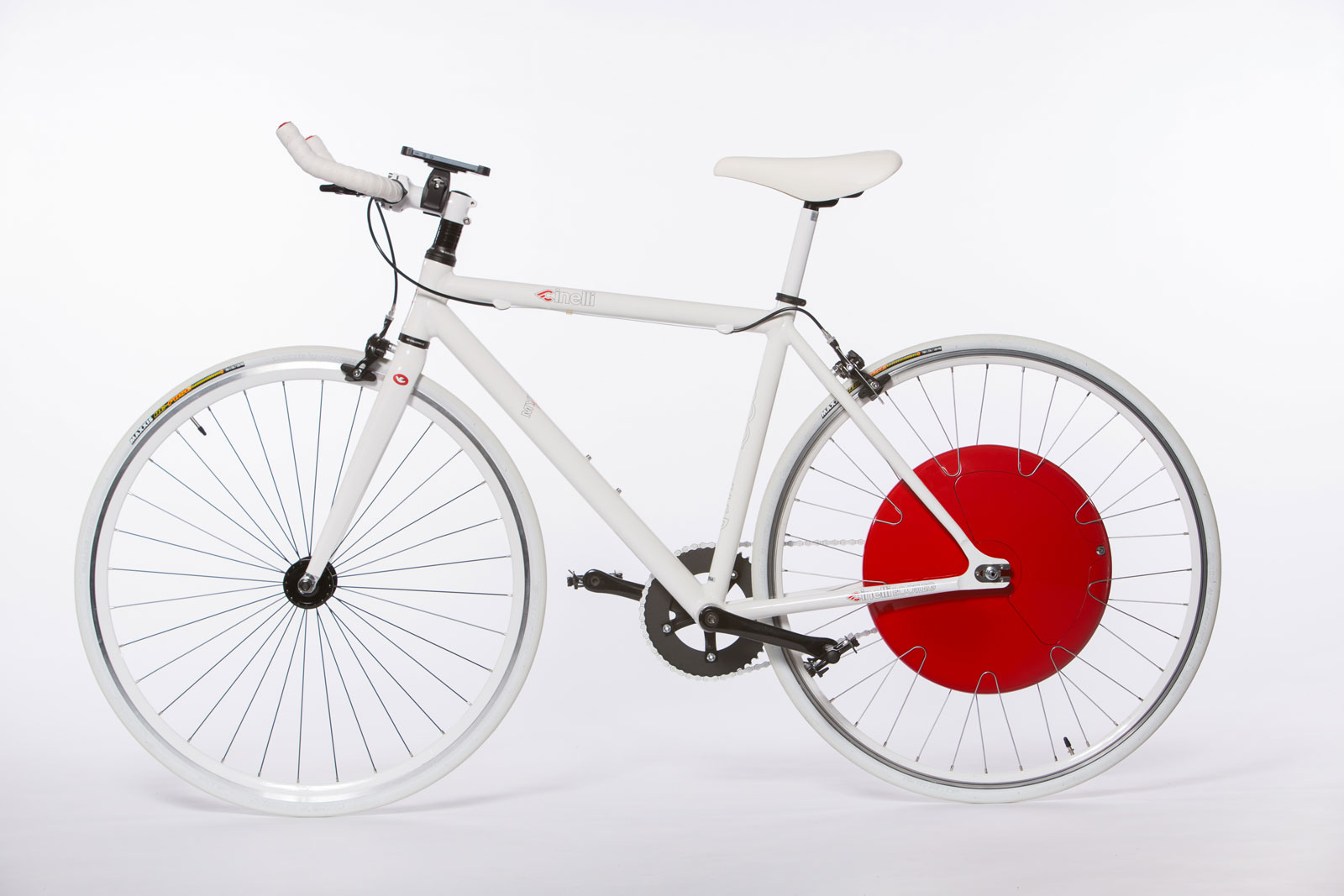 The Copenhagen Wheel is shown here on a bike with a single rear gear, but it's also available for multi-speed bikes that change gears with a rear derailleur.