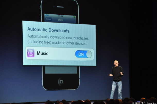 Steve Jobs showing off automatic downloads at the Worldwide Developers Conference earlier this year.