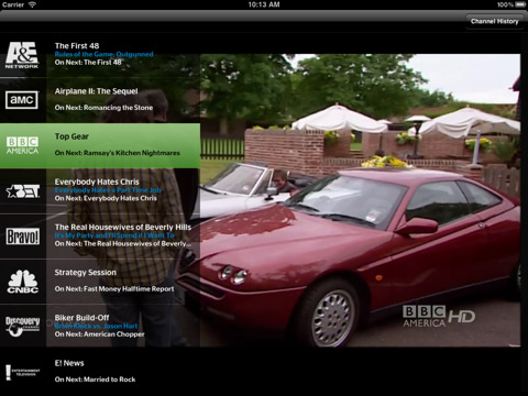 The TWCable TV iPad app.