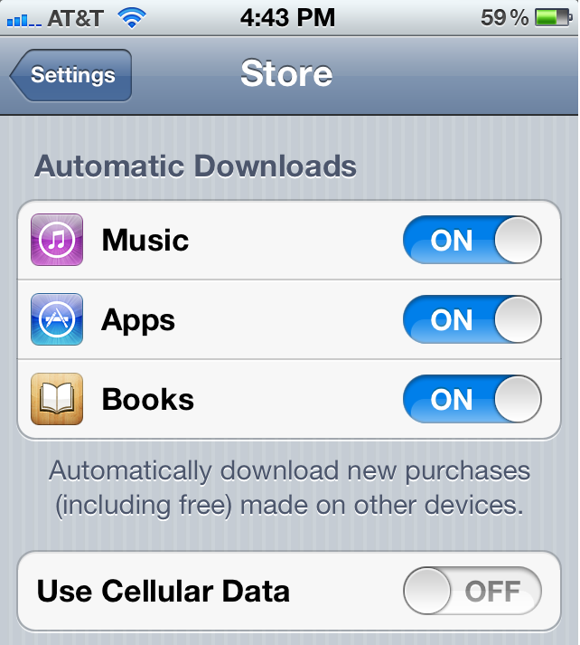 On iOS devices, you can turn off certain download types from App Store to minimize Internet use.