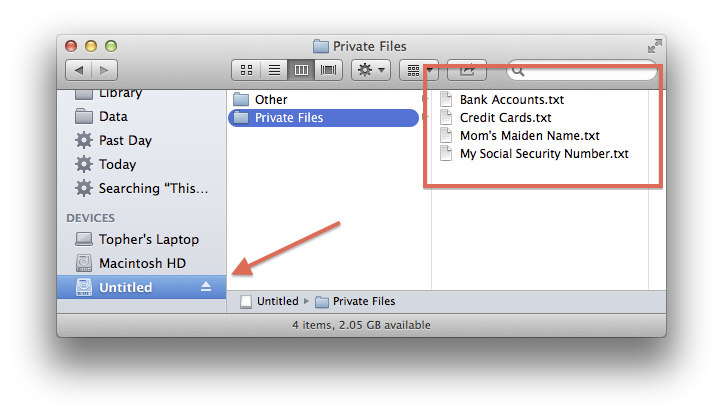 Mounted external drive in OS X