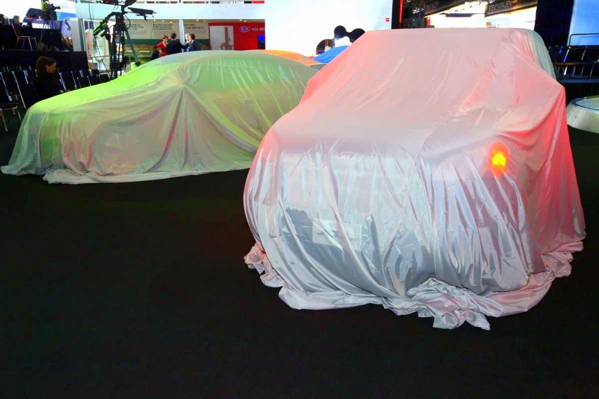 Veiled cars at the Detroit auto show