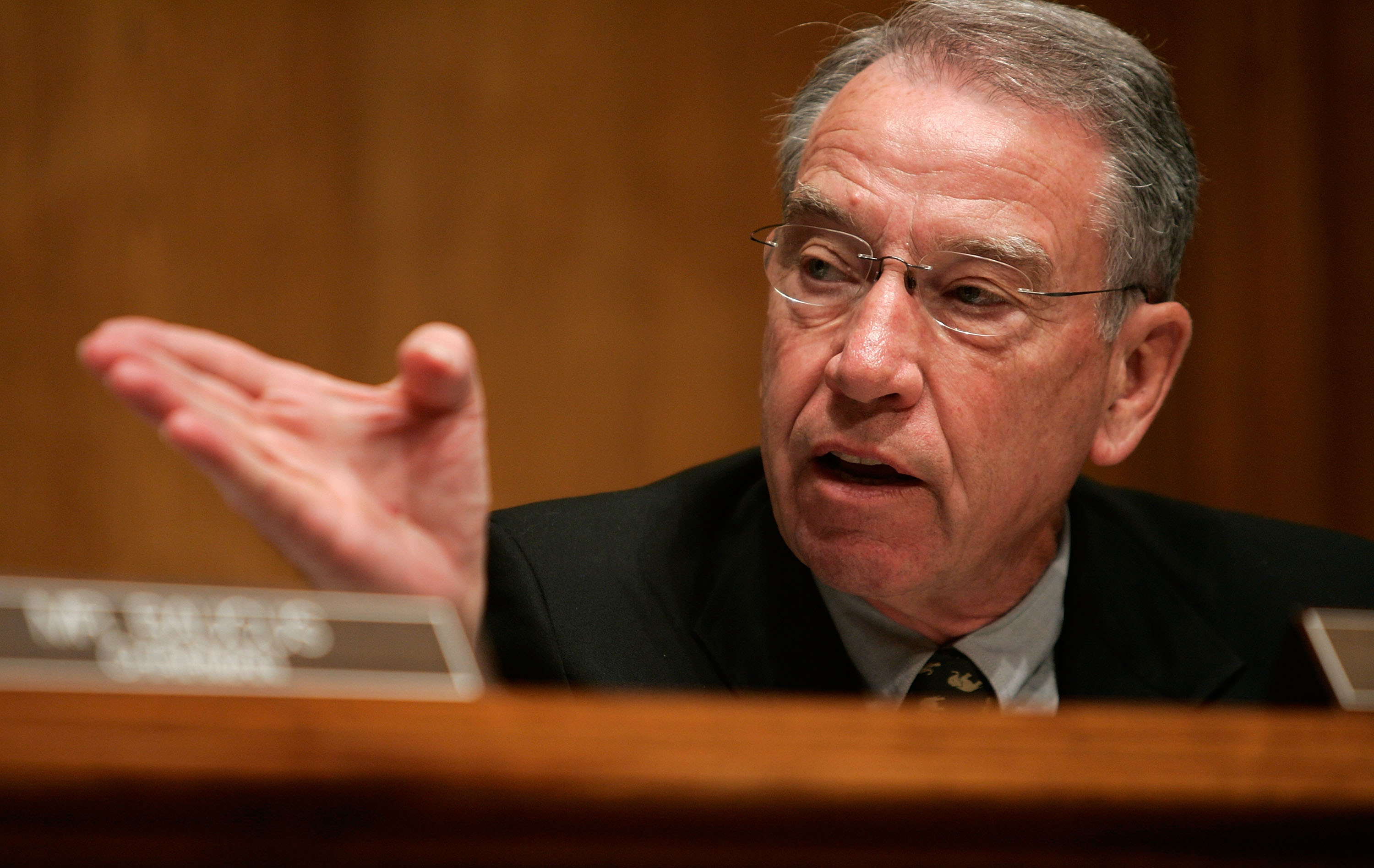 Sen. Chuck Grassley asked today whether the IRS obtained a search warrant before reading private Facebook or Twitter messages. He didn't get an answer.