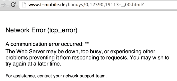 T-Mobile's site in Germany faltered under the crush of iPhone 5 orders.