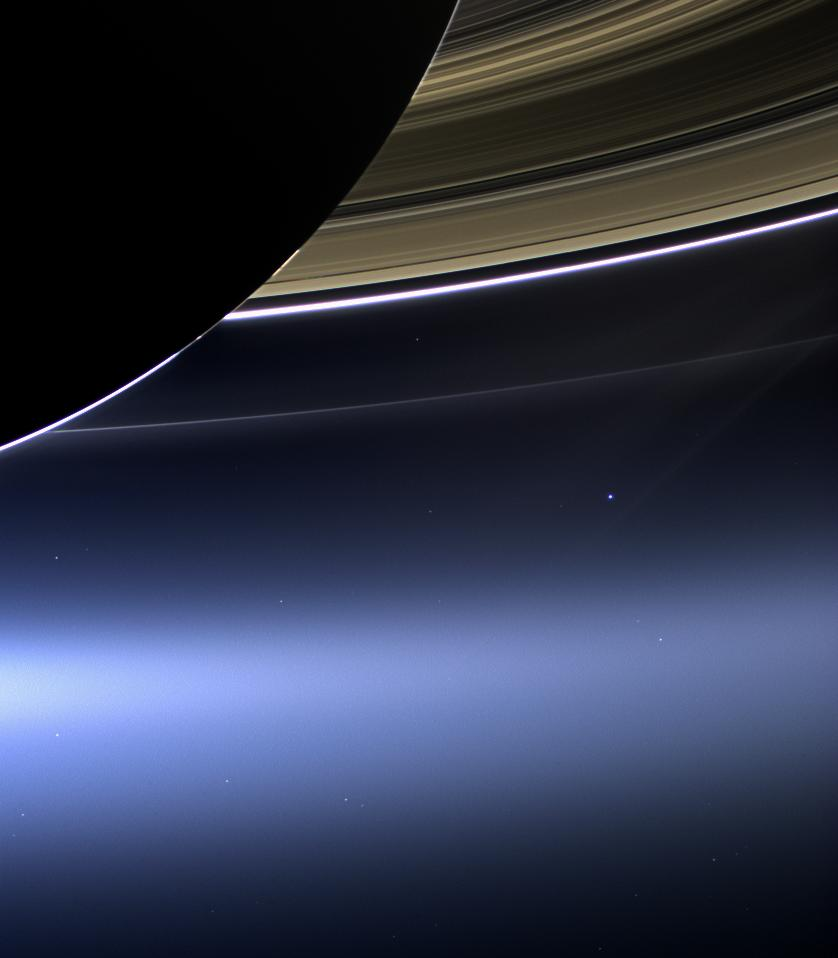 Saturn's rings, the Earth and the Moon