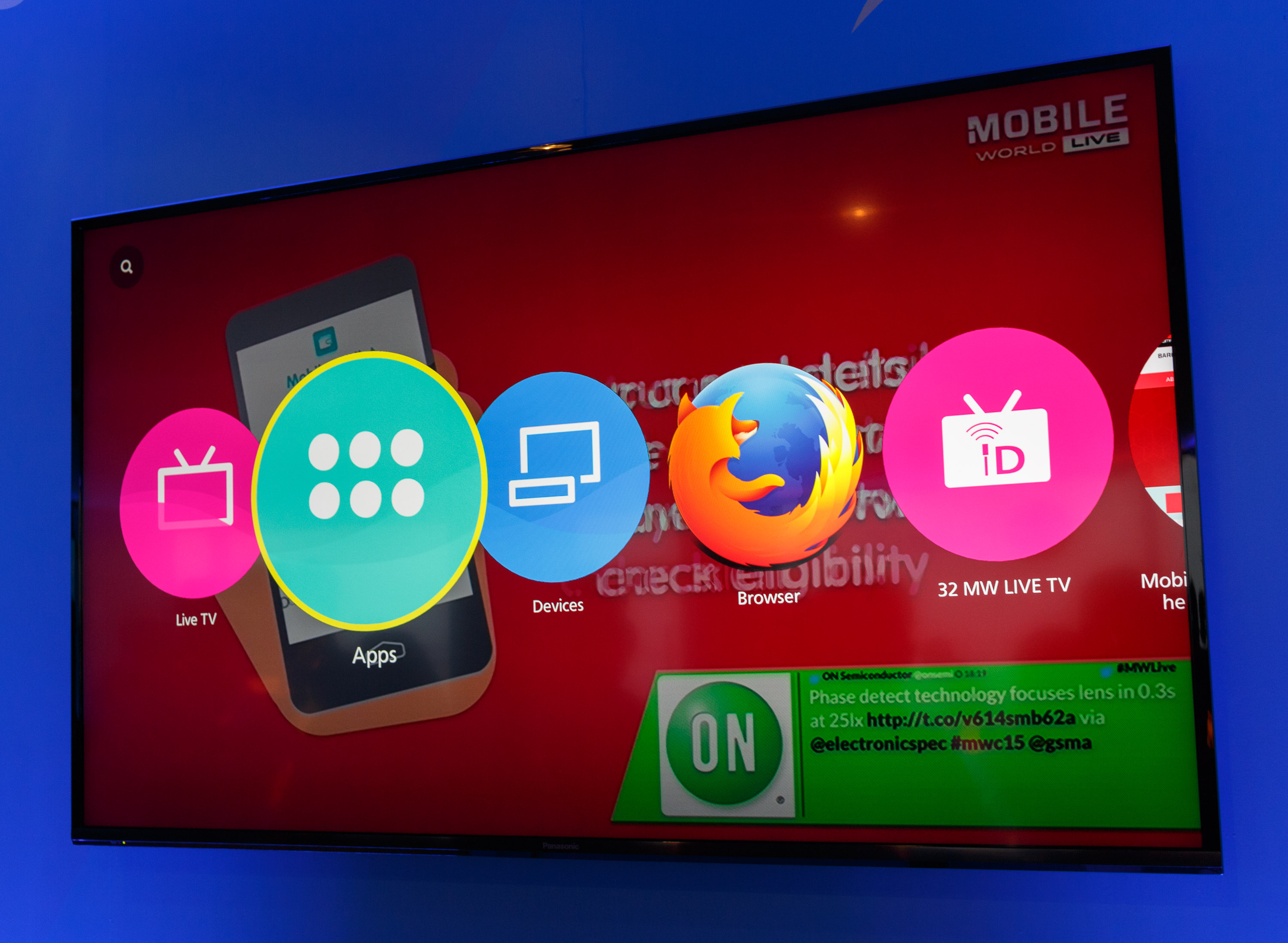 <p>The main screen visible when you turn on Panasonic's 4K TV shows a user-configurable list of icons to launch various stations or services. Panasonic announced the TV at CES in January but showed it at Mobile World Congress two months later.</p>