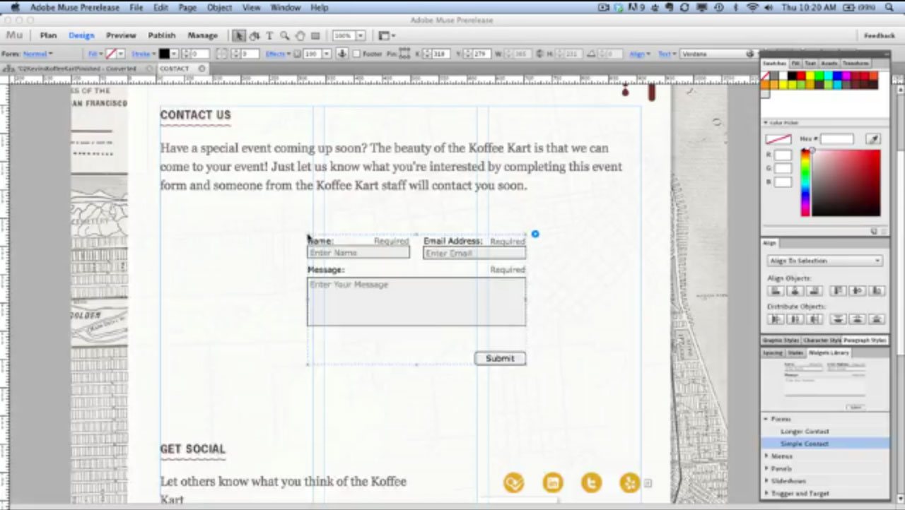 Adobe Muse users now can drag a contact form into their Web page design and customize it.