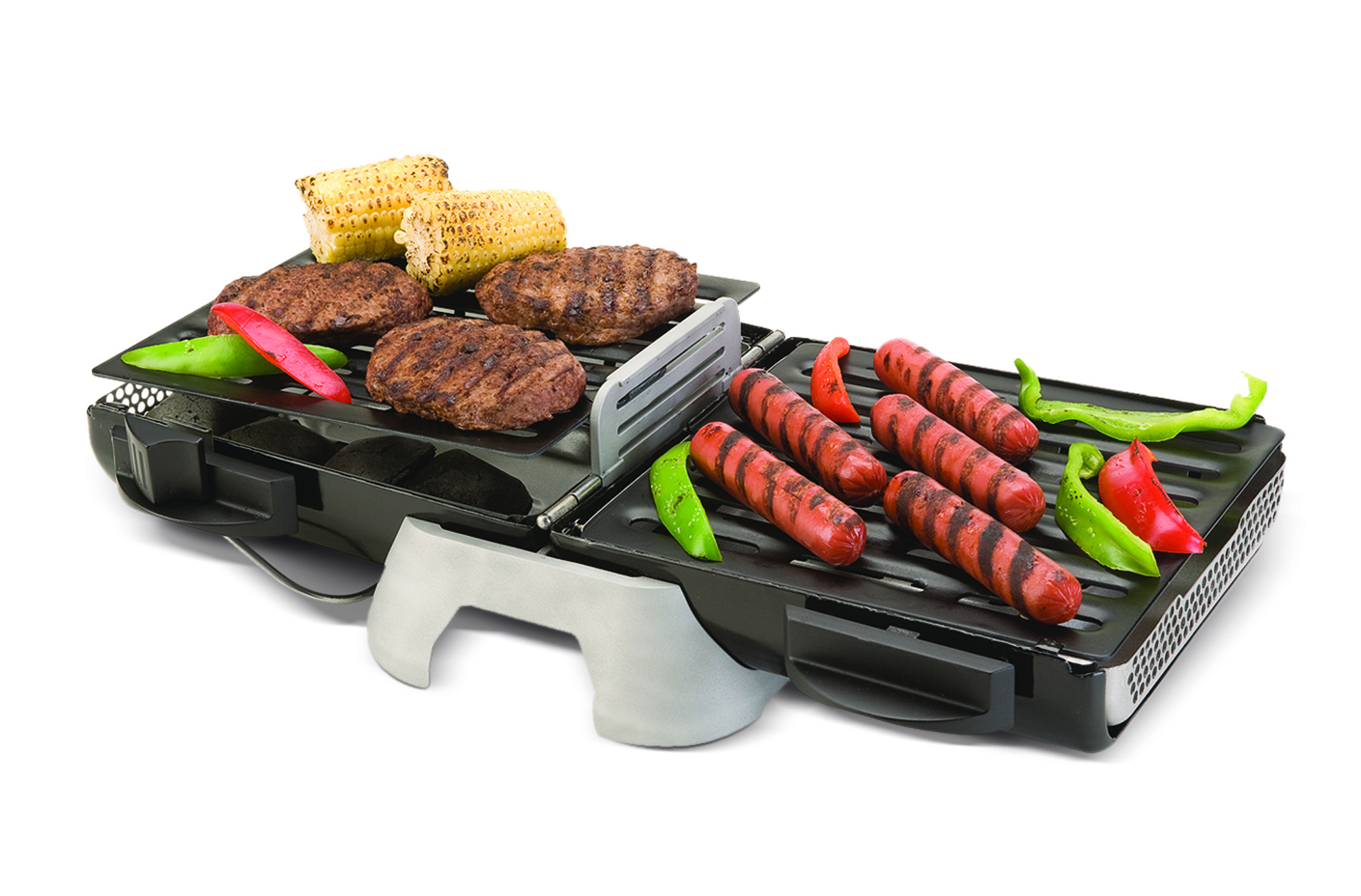 The Coleman Fold N Go Charcoal Grill features a folding design and adjustable grill grates.
