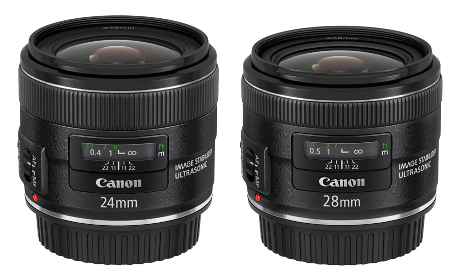 Canon's $850 EF 24mm f/2.8 IS USM and $800 EF 28mm f/2.8 IS USM bring image stabilization to the wide-angle prime market.