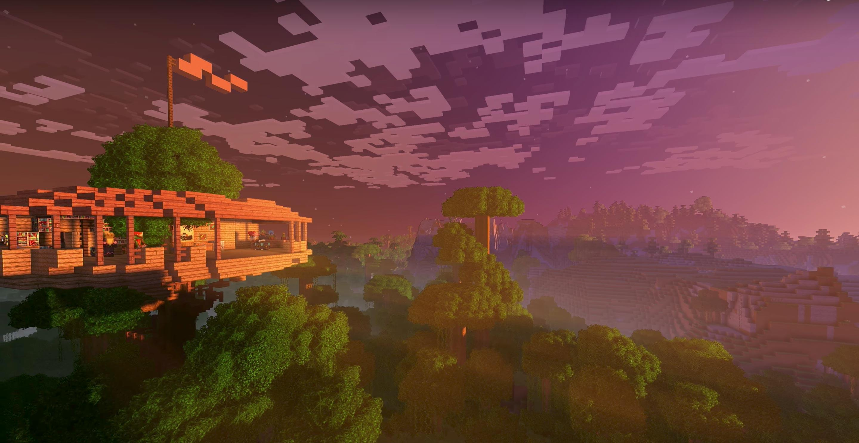 In the fall of 2017, Microsoft will begin selling an a downloadable Minecraft extra, the Super Duper Graphics Pack, with cloud shadows, hazy atmospheres and reflecting water.