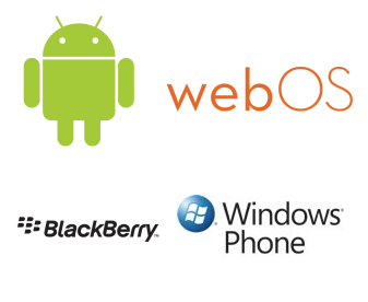 Android, WebOS, BlackBerry, Windows Phone 7 logos