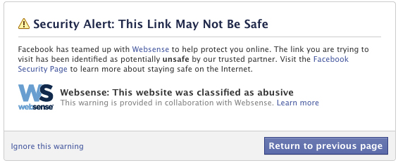This is the warning that will pop up if WebSense determines that a Web link on Facebook is unsafe.