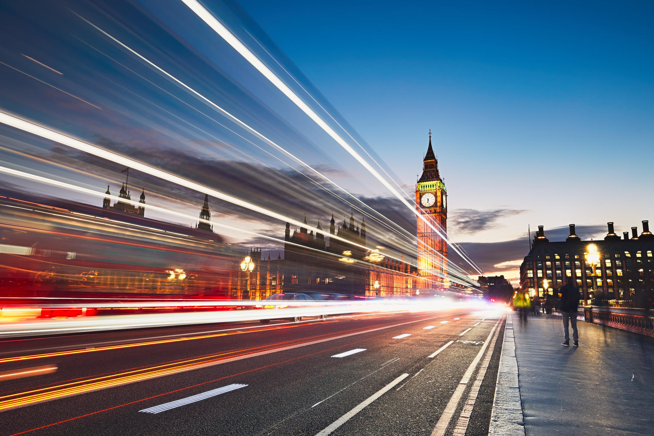 Light Trails On Road In London City At Night