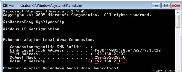 You can easily find out a home network router's IP address by running the ipconfig command from any connected computer.