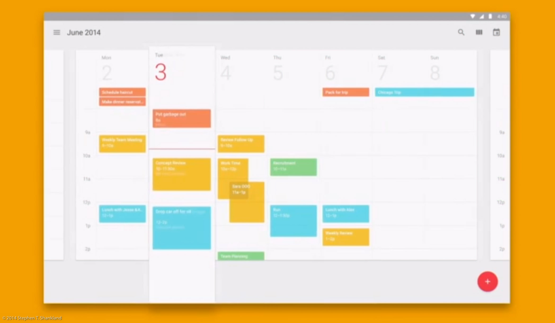 A look at Google's calendar recrafted with its Material Design interface.