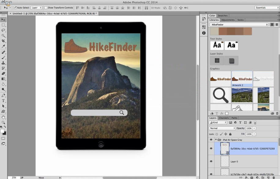 Adobe's Creative Profile technology synchronizes collections of assets across PCs, the Web, and mobile devices. This shows how Photoshop CC can tap into one such library including graphics, text styles, and color pallettes.