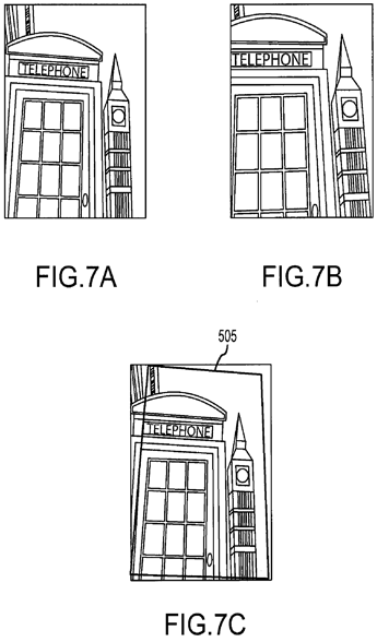Apple's patent includes this illustration of distortion correction. Fig. 7A shows the original image, 7B the corrected version with the face of the phone booth reoriented, and 7C the dynamic crop lines that show where the photo was trimmed.