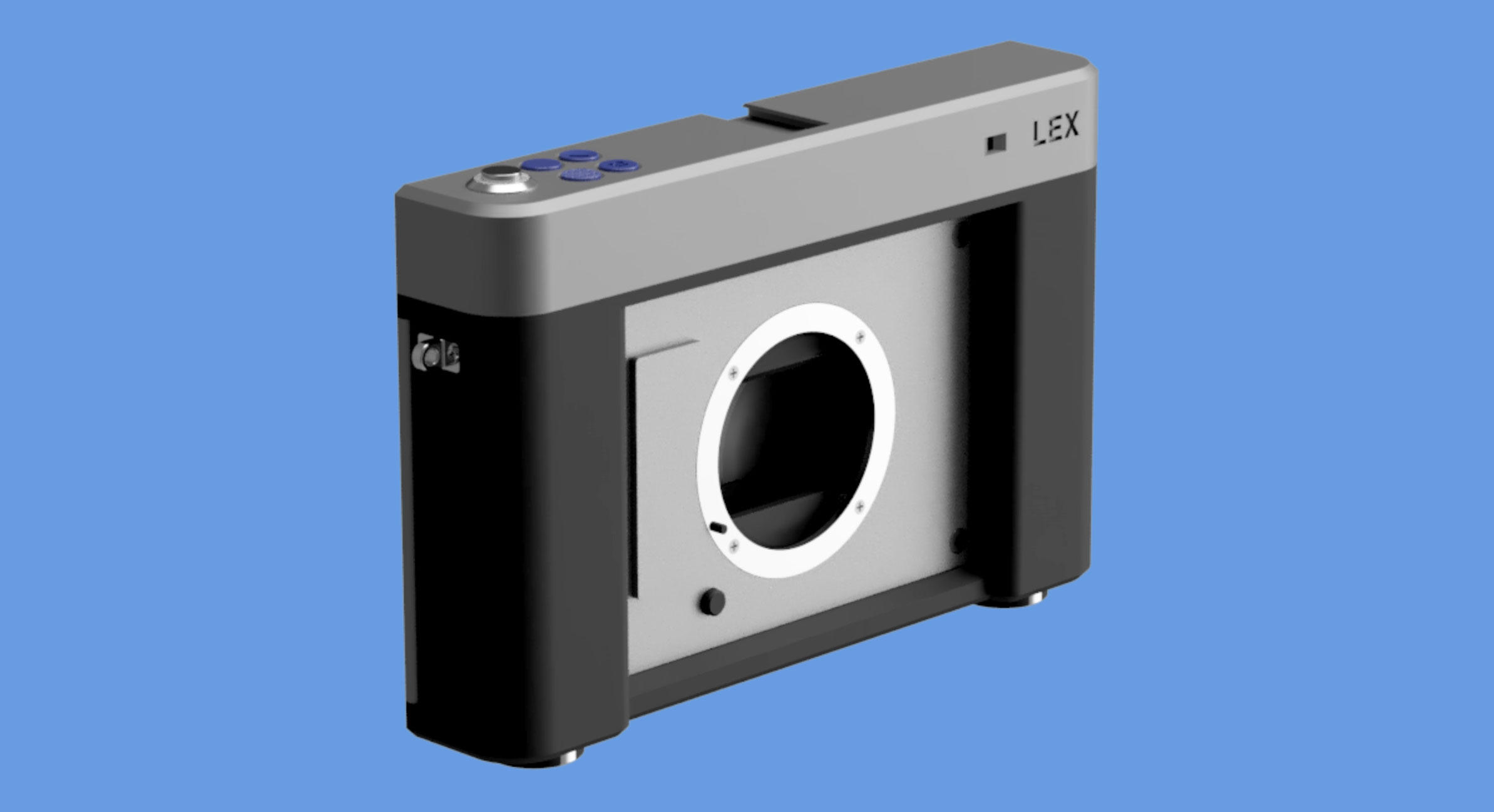 The Lex, shown here in a digital mockup, is a 3D-printed camera body that accepts Sony E-mount lenses.