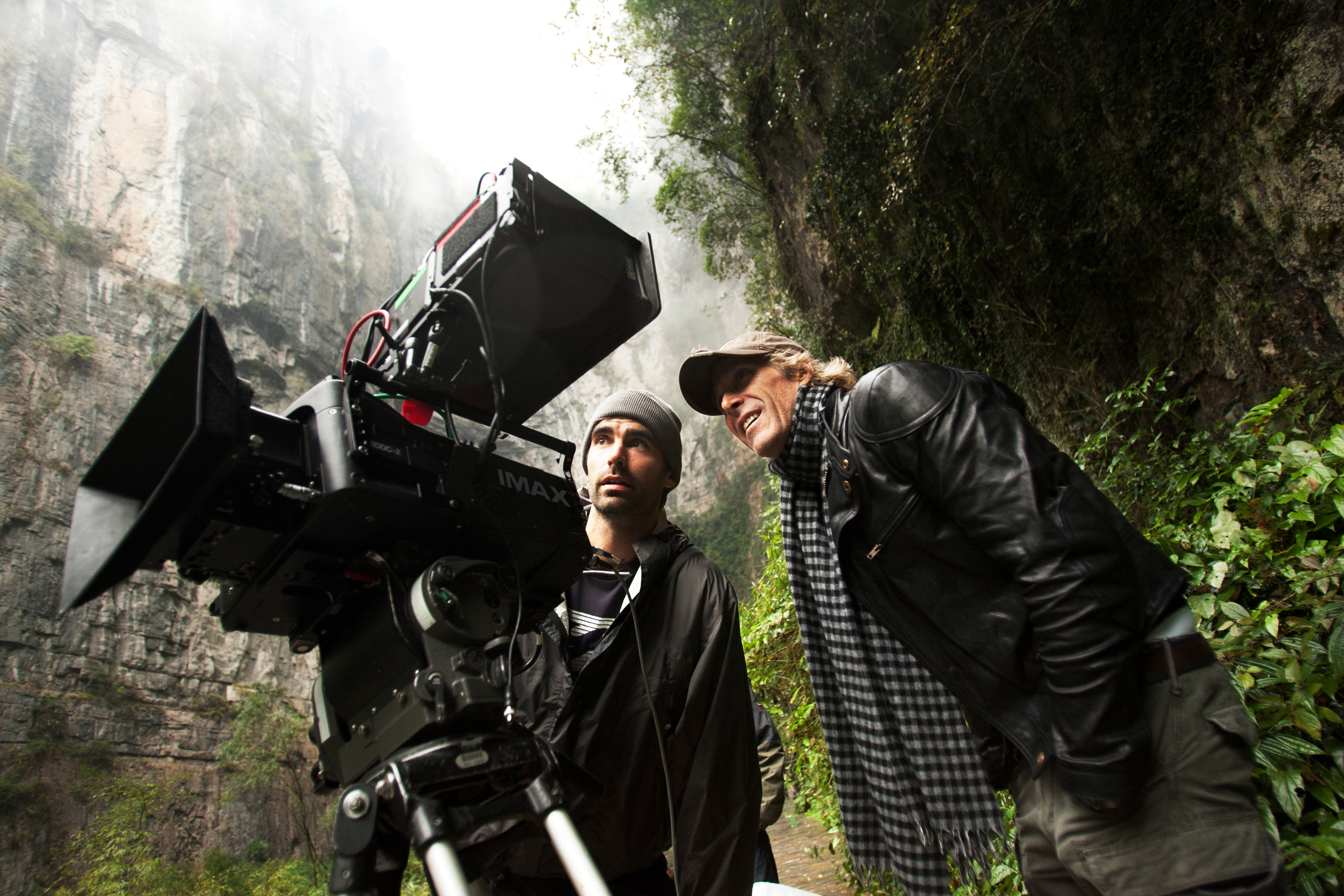 """Director Michael Bay (at right) with the 3D Imax camera on set of """"Transformers: Age of Extinction"""" in China."""