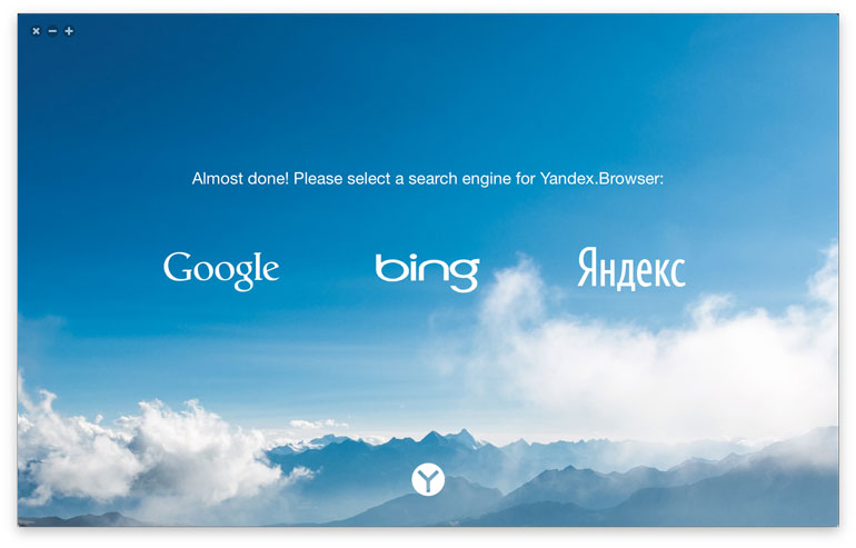 Yandex.Browser offers a choice of search engines when first installed. The choices vary by country.