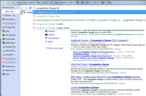 On Windows, Chrome's omnibox gets Google Instant results when enabled through about:labs.
