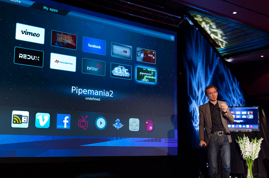 Christen Krogh, Opera's chief development officer, shows the Opera-powered app interface Broadcom reference design hardware for the TV market.