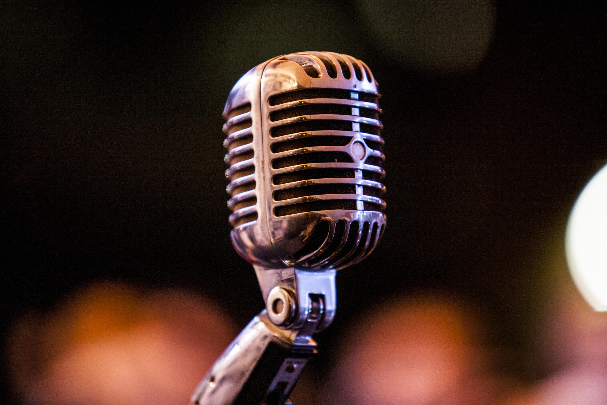 Atmospheric color photo of a vintage microphone