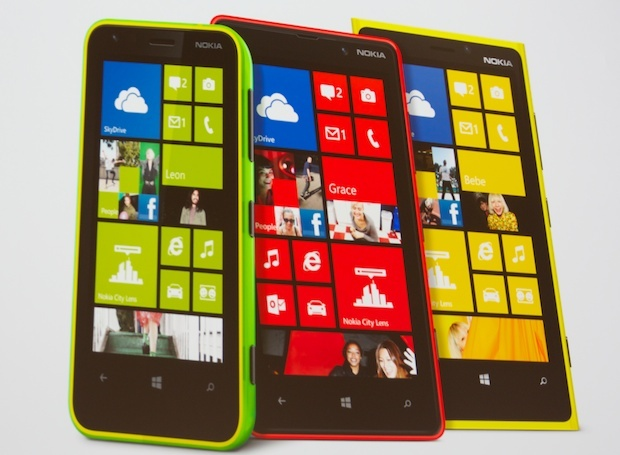 The Lumia 620, left, alongside its higher-end brethren from Nokia.