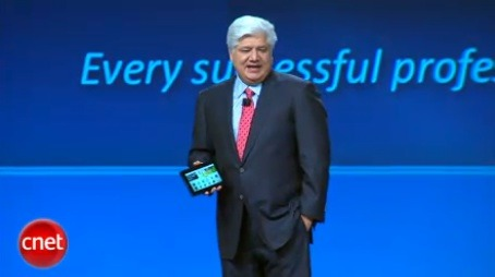 RIM CEO Michael Lazaridis showing off the PlayBook on Monday.